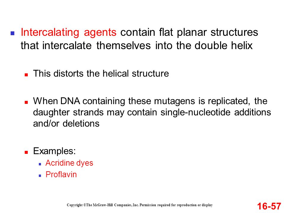 Intercalating agents contain flat planar structures that intercalate themselves into the double helix