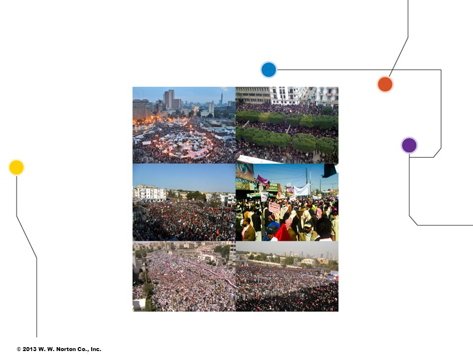 Let's start with one of the more vibrant examples of globalization: 2011's Arab Spring. Here you see images from six different countries that experienced mass uprisings: Egypt, Tunisia, Libya, Yemen, Syria, and Bahrain. Three of these succeeded in unseating unpopular, authoritarian regimes (Egypt, Tunisia, and Libya), while the others resulted in sending a clear message that things had to change. As of July 2012, Syria continues its violent internal battle, which has world leaders in frequent discussions about how to respond to ongoing, deadly conflict.