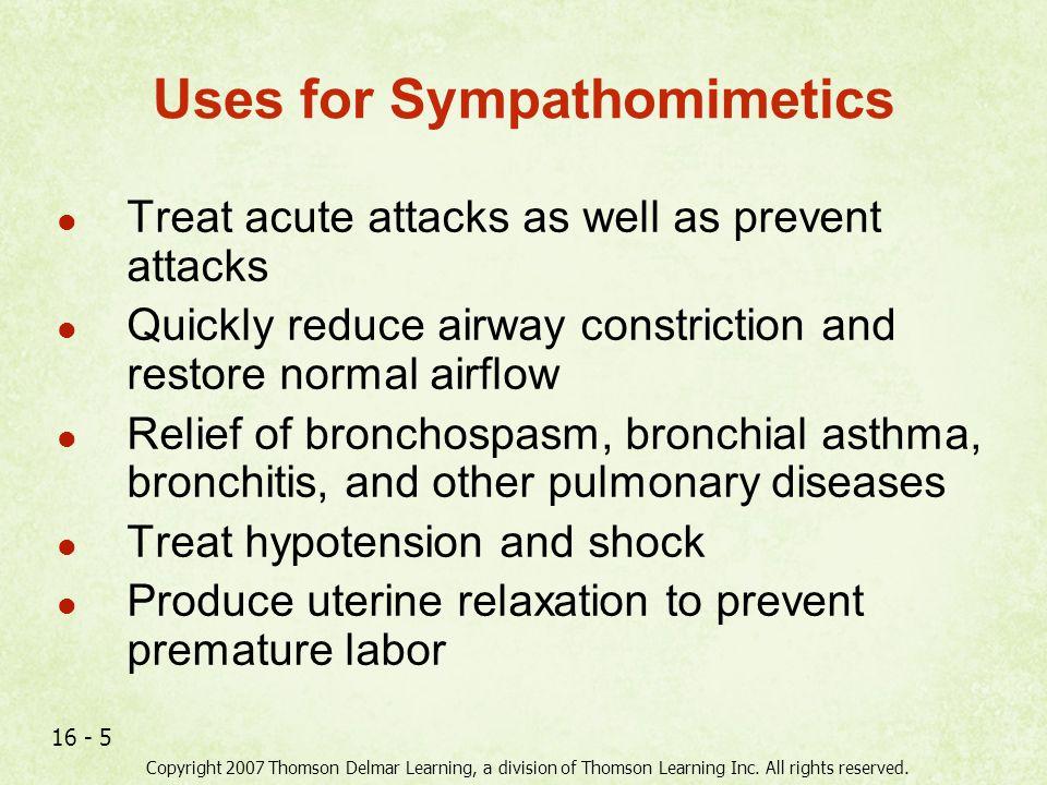 Uses for Sympathomimetics