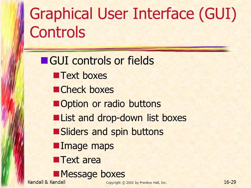 Graphical User Interface (GUI) Controls