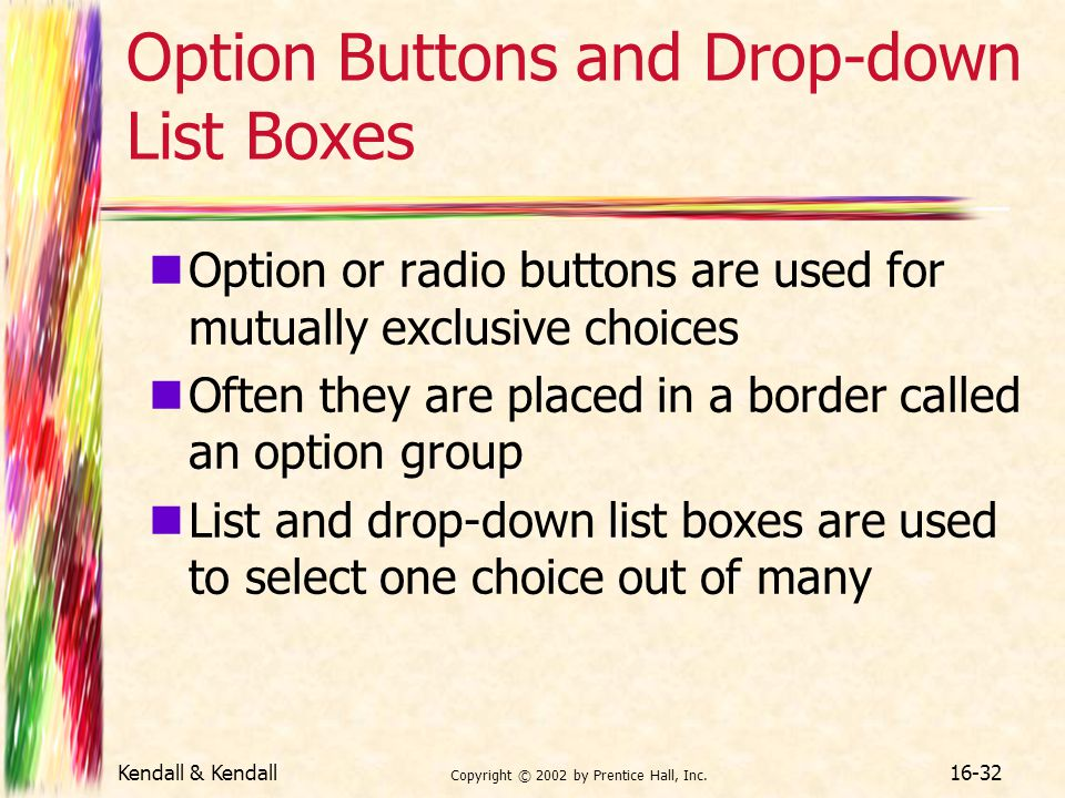 Option Buttons and Drop-down List Boxes