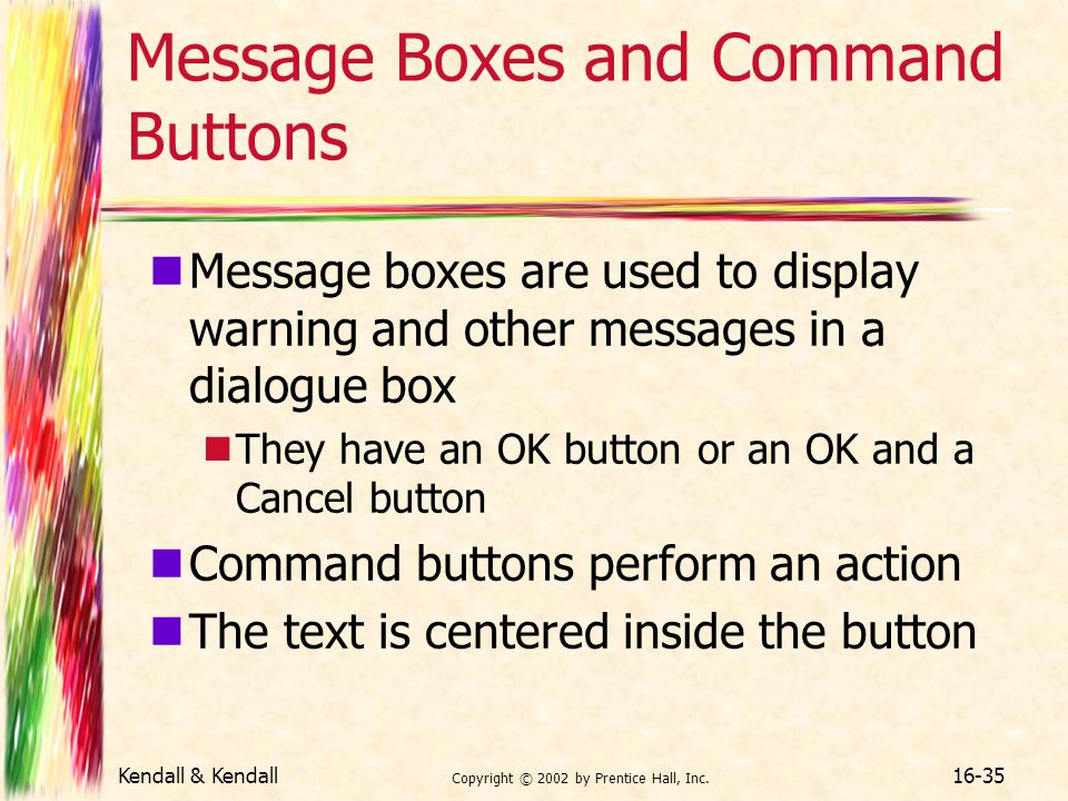 Message Boxes and Command Buttons