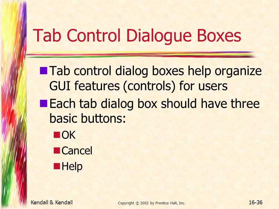 Tab Control Dialogue Boxes
