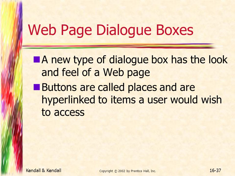 Web Page Dialogue Boxes