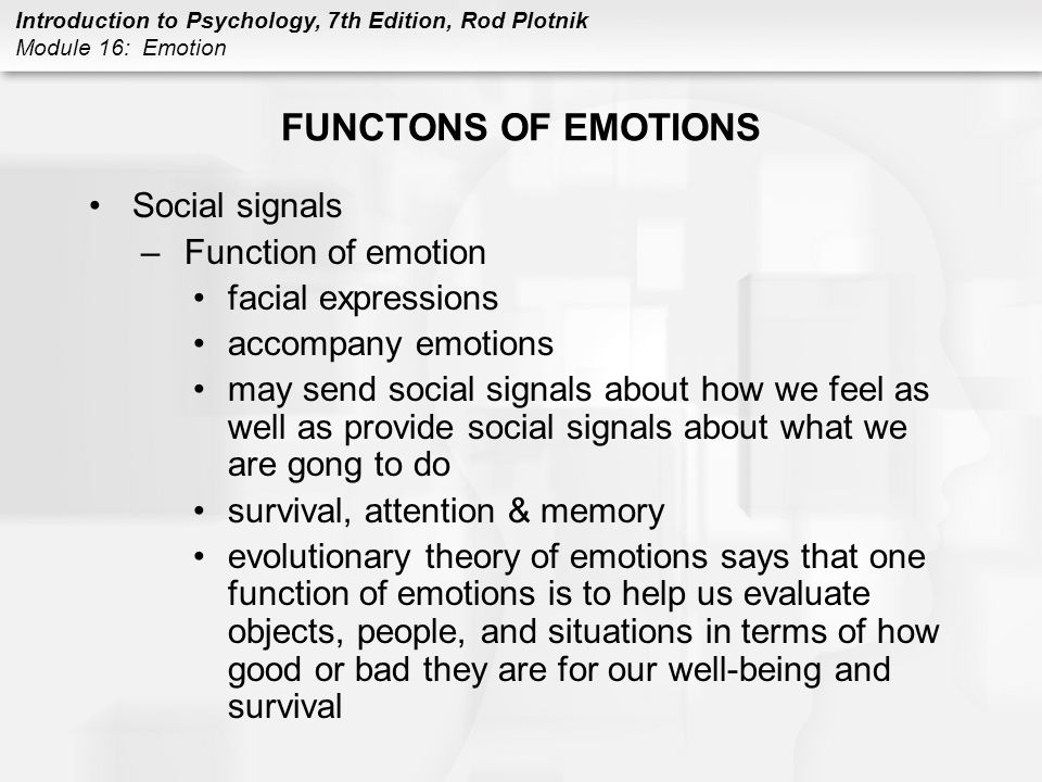 FUNCTONS OF EMOTIONS Social signals Function of emotion