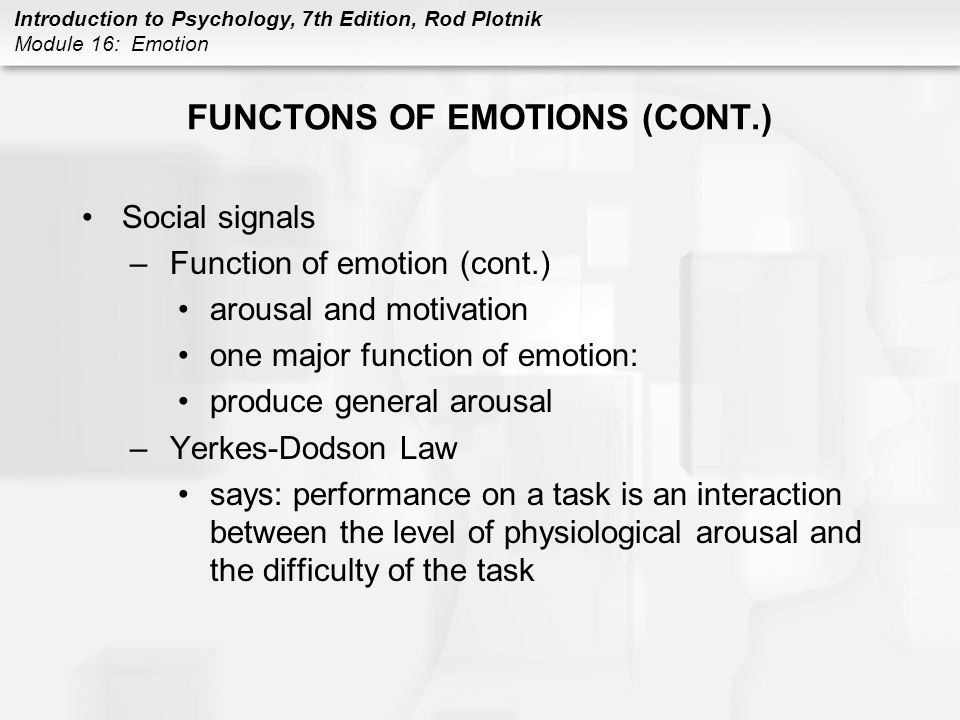 FUNCTONS OF EMOTIONS (CONT.)
