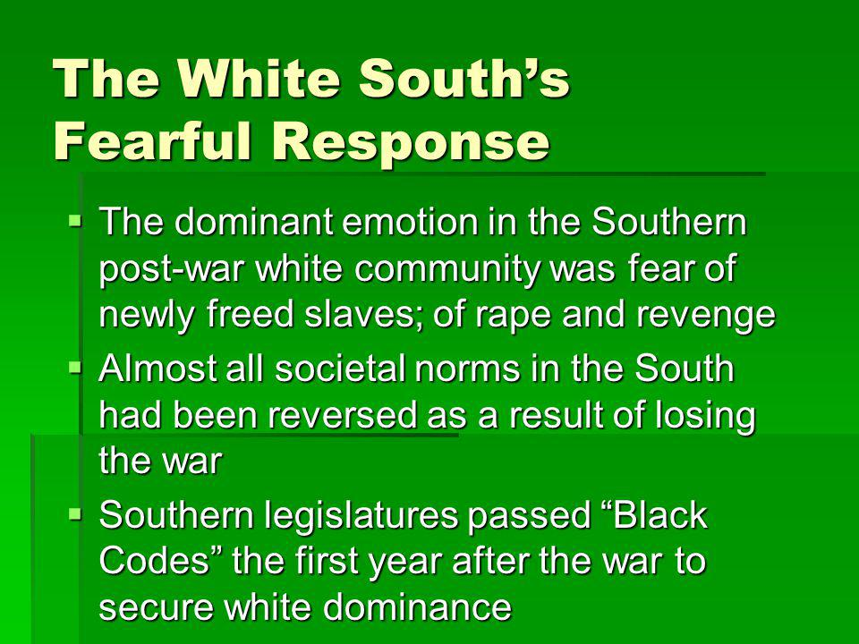 The White South's Fearful Response