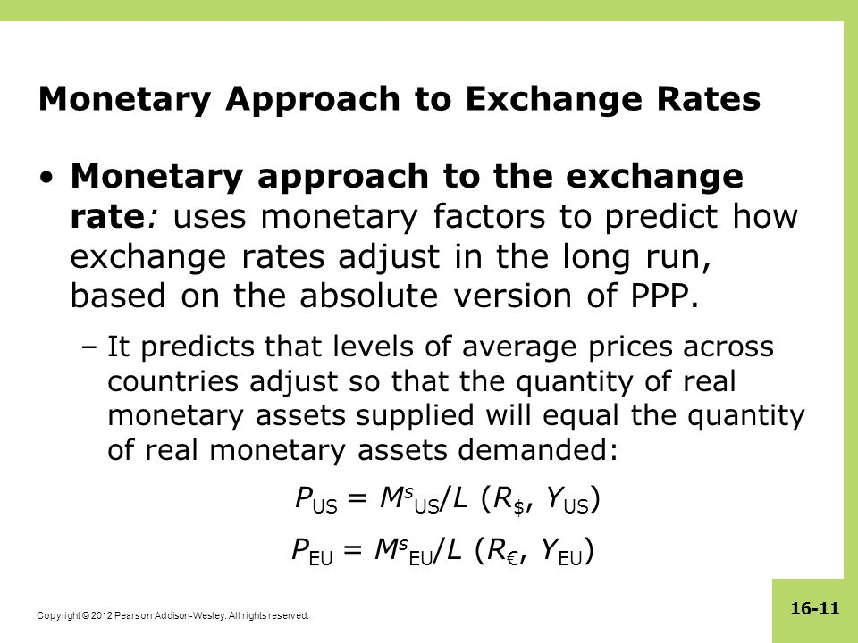 Monetary Approach to Exchange Rates