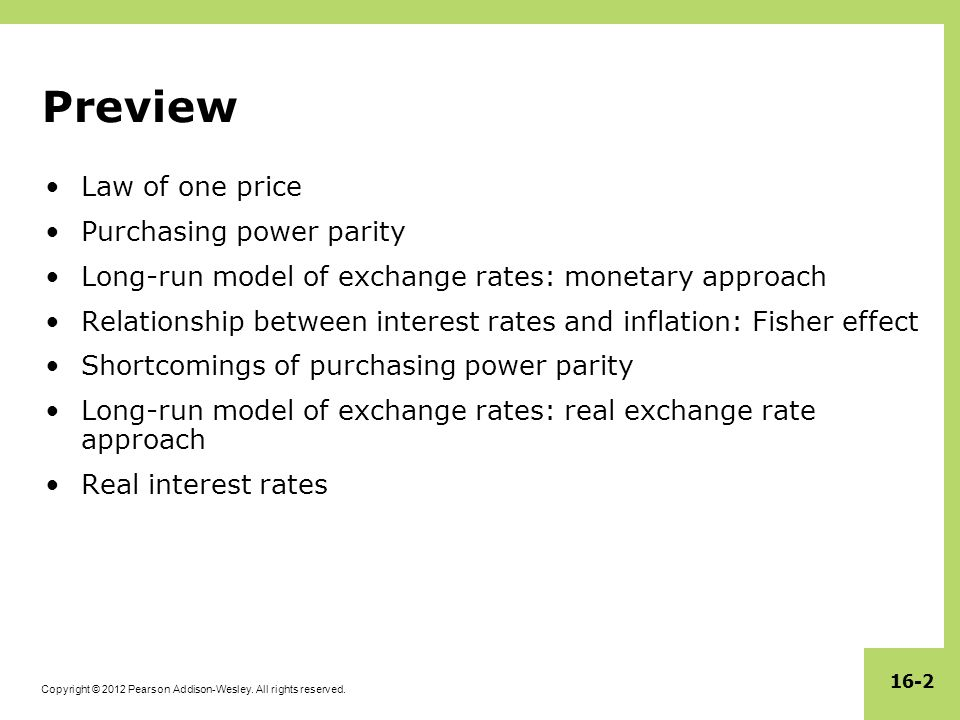 Preview Law of one price Purchasing power parity