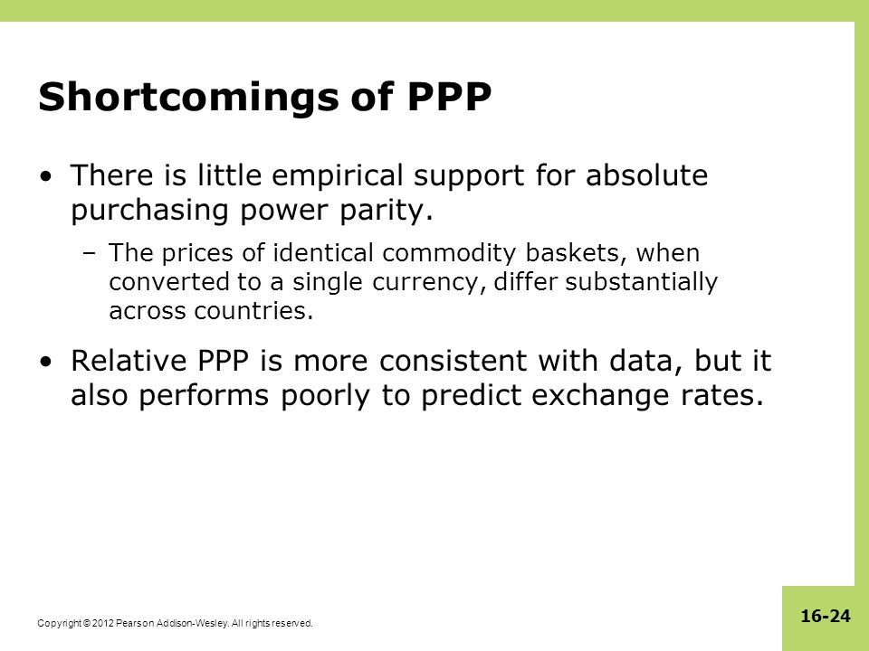 Shortcomings of PPP There is little empirical support for absolute purchasing power parity.