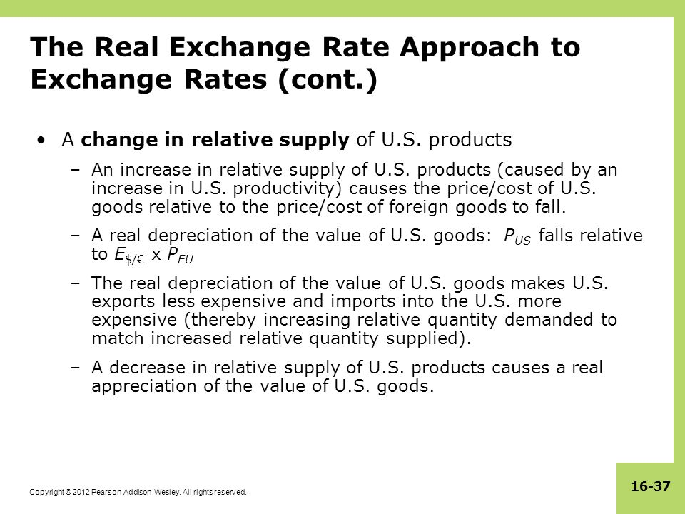 The Real Exchange Rate Approach to Exchange Rates (cont.)