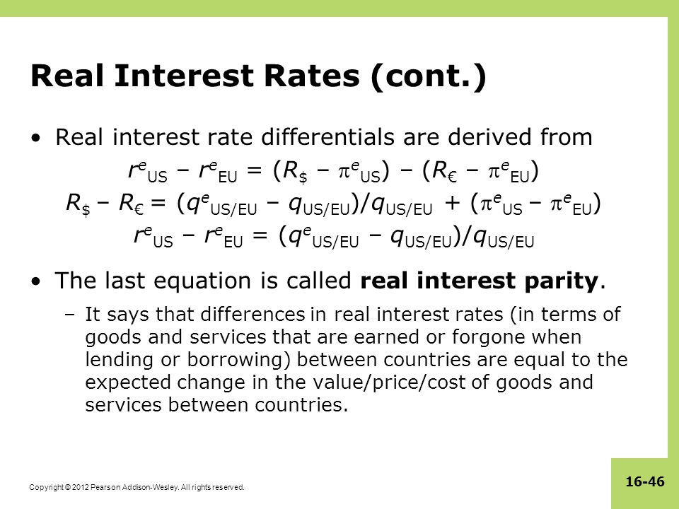 Real Interest Rates (cont.)