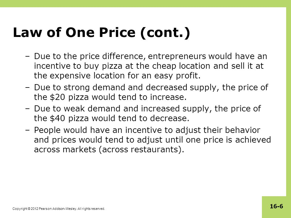Law of One Price (cont.)