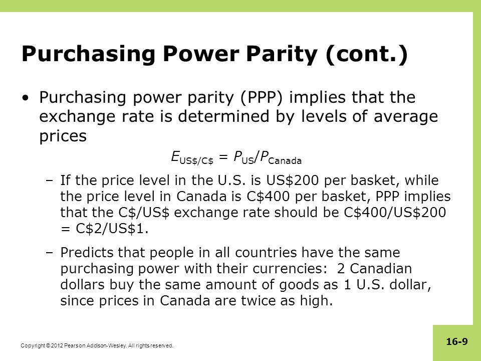 Purchasing Power Parity (cont.)