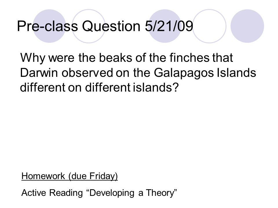 Pre-class Question 5/21/09 Why were the beaks of the finches that Darwin observed on the Galapagos Islands different on different islands