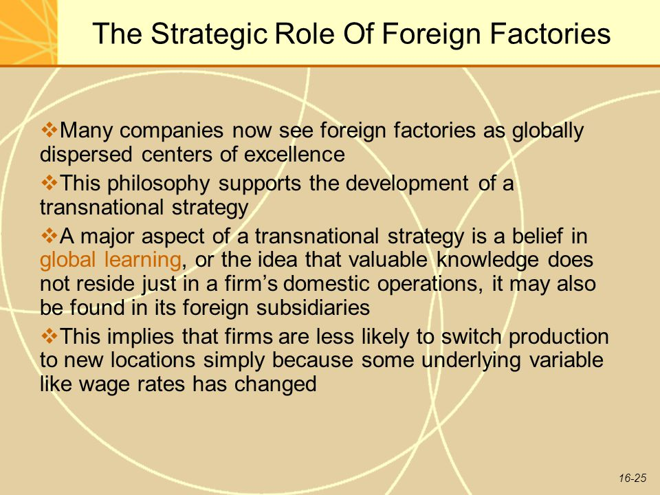 The Strategic Role Of Foreign Factories