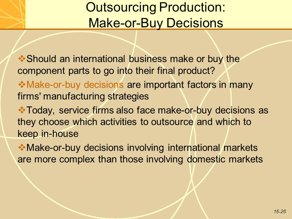 Outsourcing Production: Make-or-Buy Decisions
