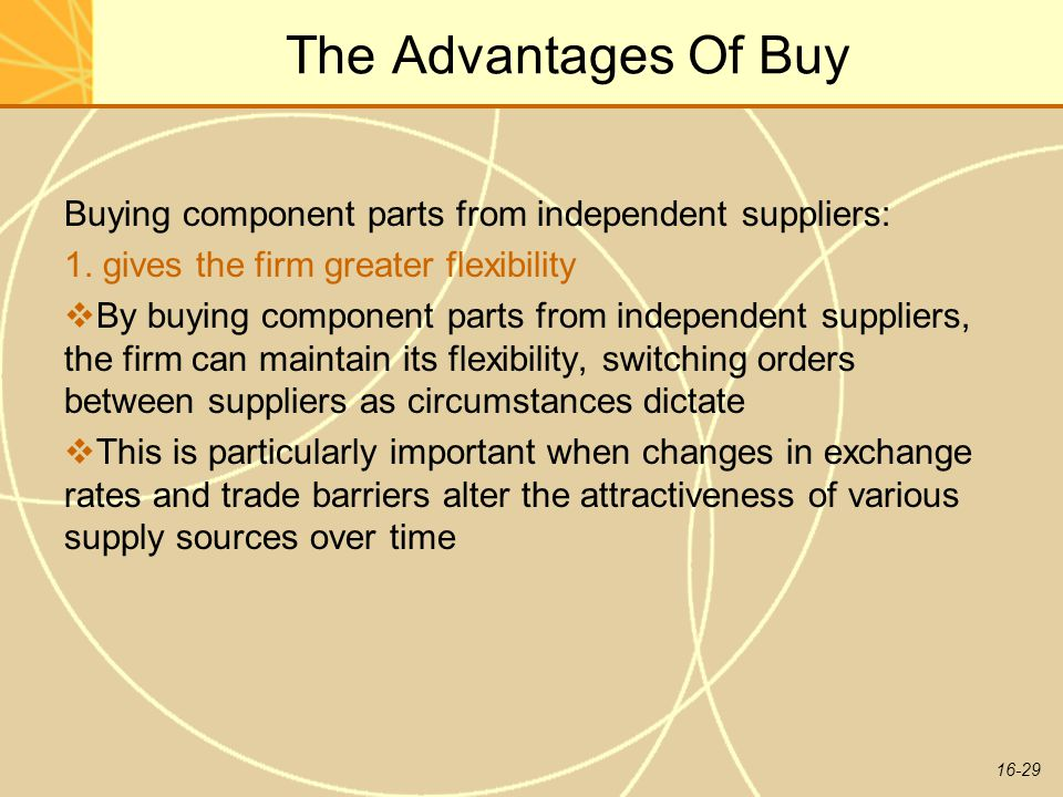 The Advantages Of Buy Buying component parts from independent suppliers: 1. gives the firm greater flexibility.