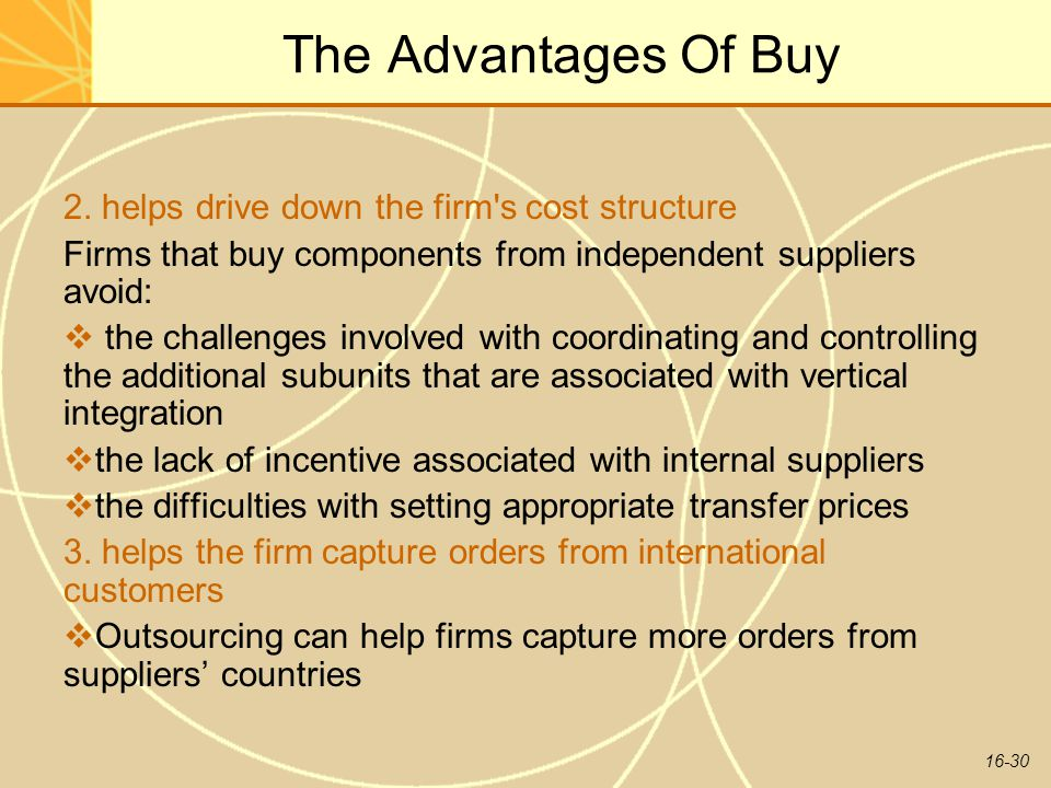 The Advantages Of Buy 2. helps drive down the firm s cost structure