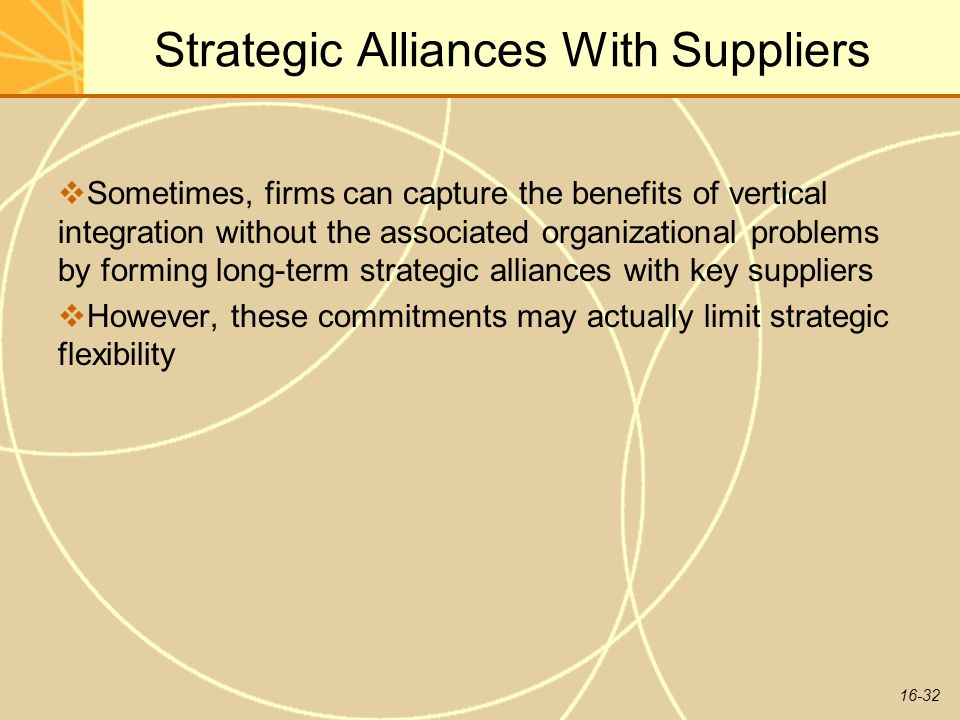 Strategic Alliances With Suppliers