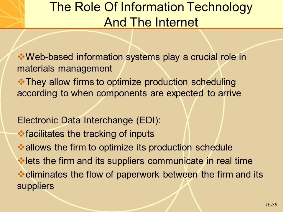 The Role Of Information Technology And The Internet
