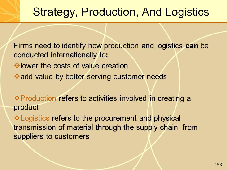 Strategy, Production, And Logistics