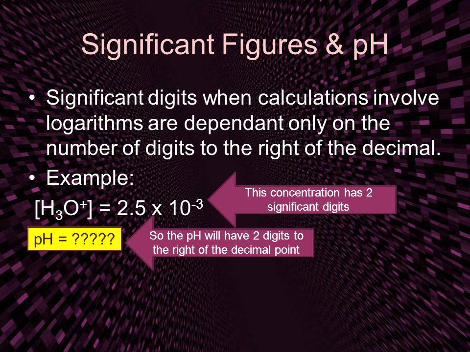 Significant Figures & pH