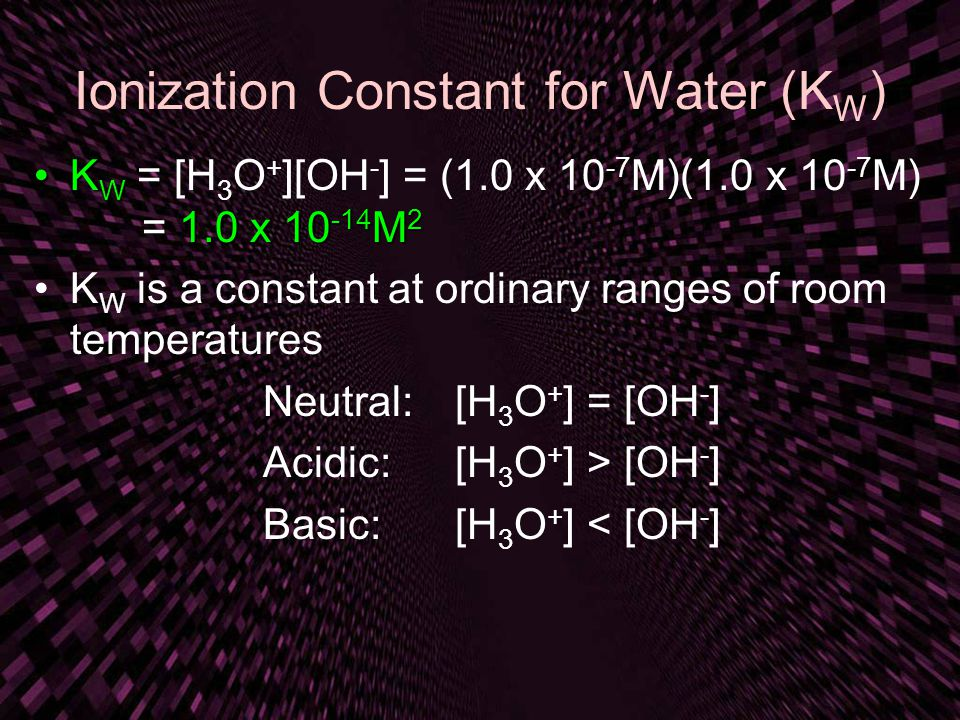 Ionization Constant for Water (KW)