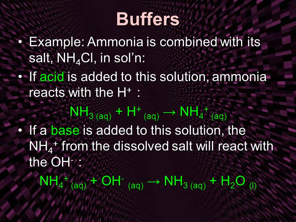 Buffers Example: Ammonia is combined with its salt, NH4Cl, in sol'n: