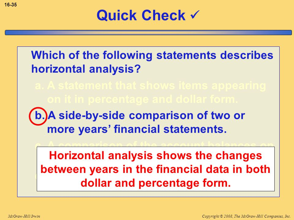 3-35 Quick Check  Which of the following statements describes horizontal analysis