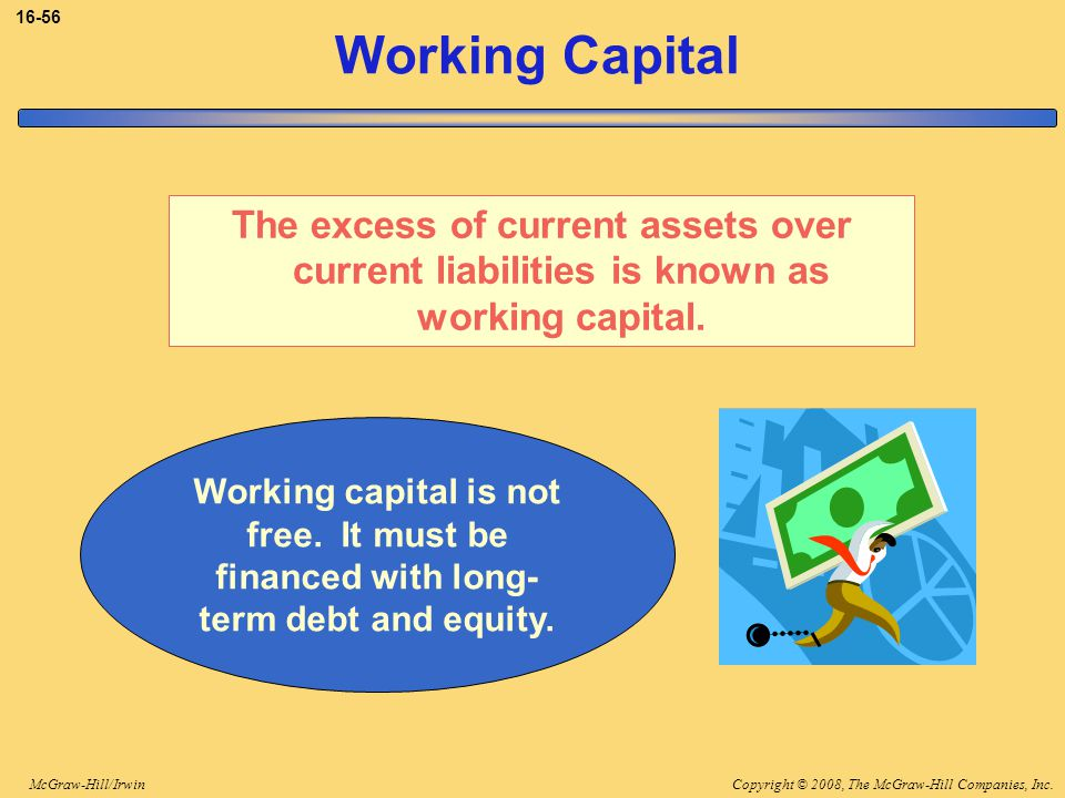 3-56 Working Capital. The excess of current assets over current liabilities is known as working capital.