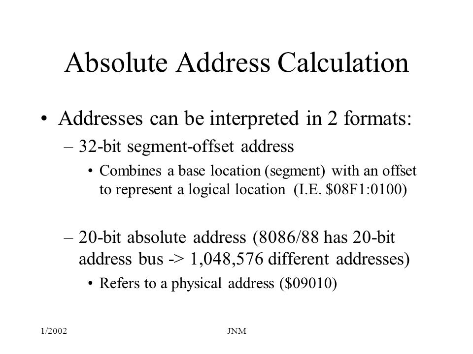 Absolute Address Calculation