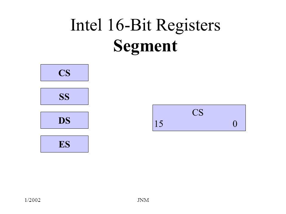 Intel 16-Bit Registers Segment