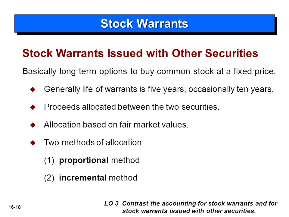 Stock Warrants Stock Warrants Issued with Other Securities