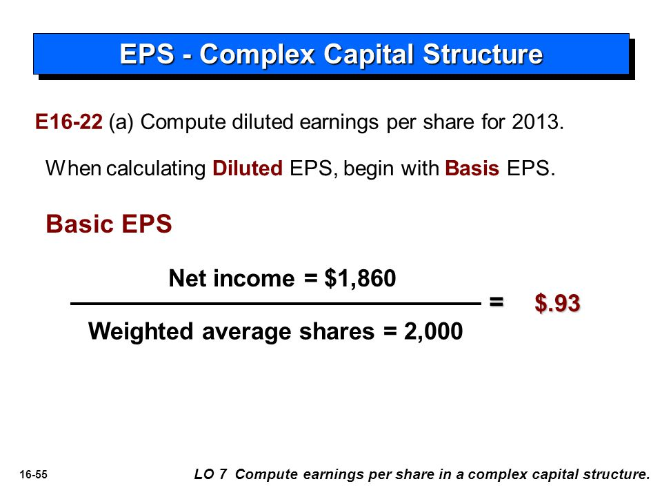 EPS - Complex Capital Structure Weighted average shares = 2,000