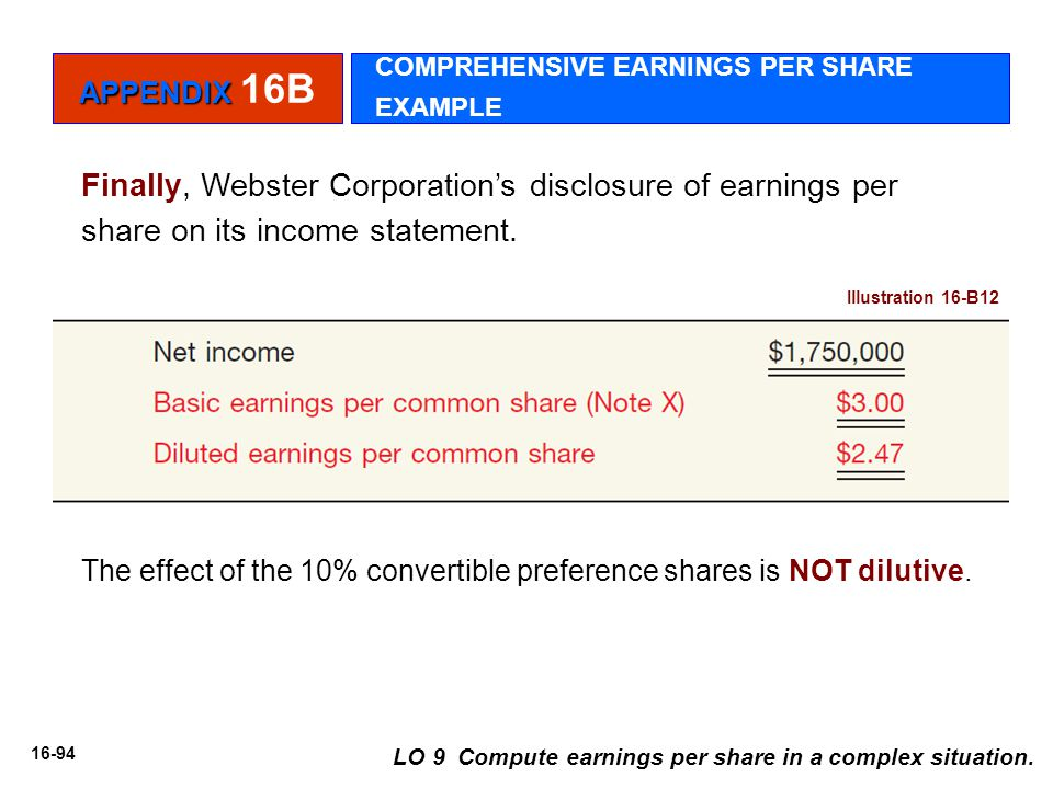Finally, Webster Corporation's disclosure of earnings per