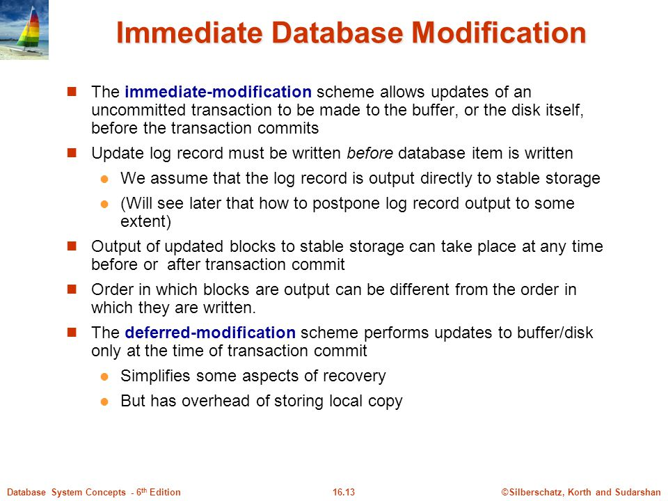Immediate Database Modification
