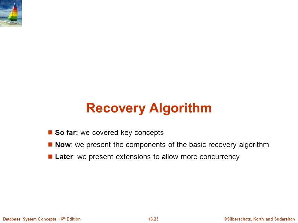 Recovery Algorithm So far: we covered key concepts