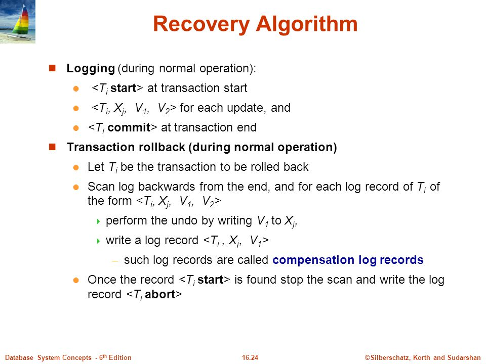 Recovery Algorithm Logging (during normal operation):