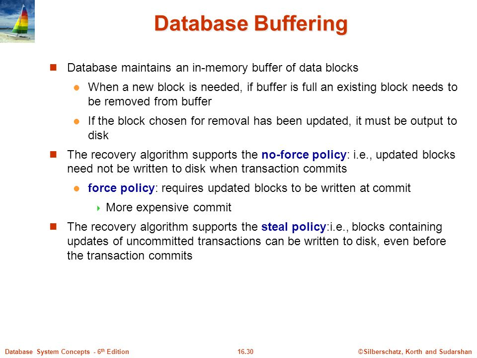 Database Buffering Database maintains an in-memory buffer of data blocks.