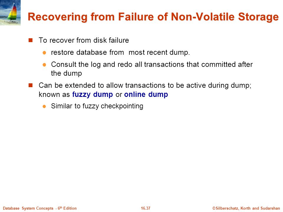Recovering from Failure of Non-Volatile Storage