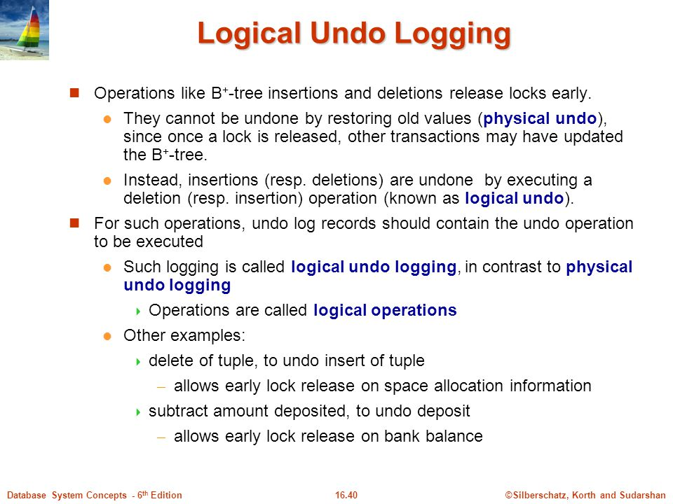 Logical Undo Logging Operations like B+-tree insertions and deletions release locks early.