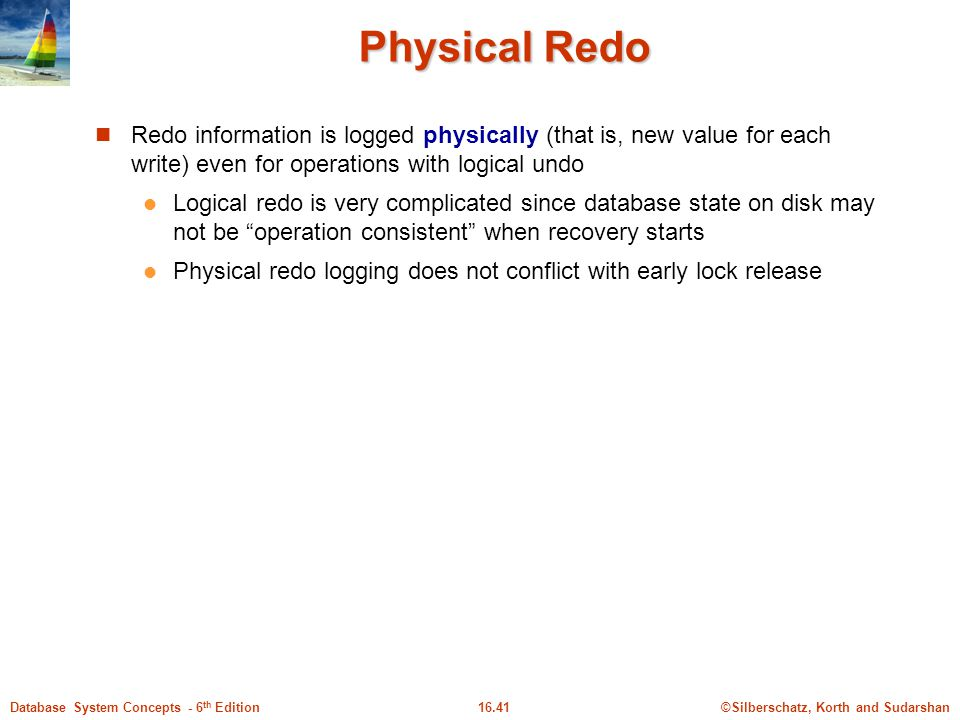 Physical Redo Redo information is logged physically (that is, new value for each write) even for operations with logical undo.