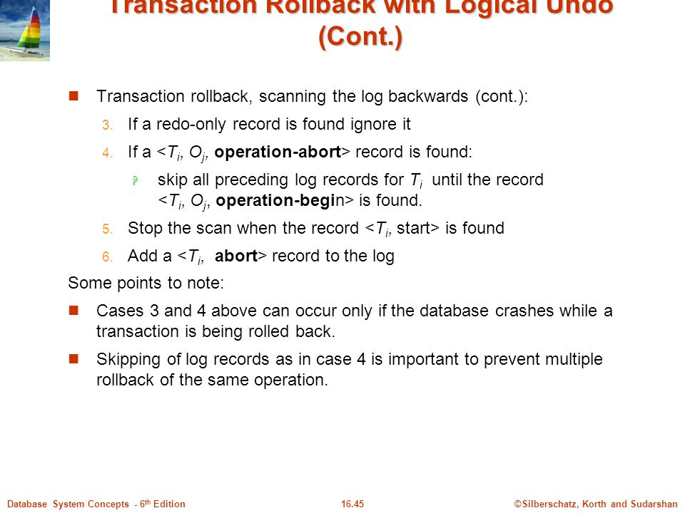 Transaction Rollback with Logical Undo (Cont.)