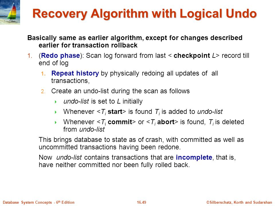 Recovery Algorithm with Logical Undo