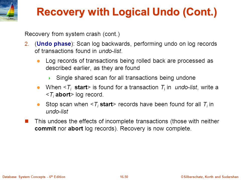 Recovery with Logical Undo (Cont.)