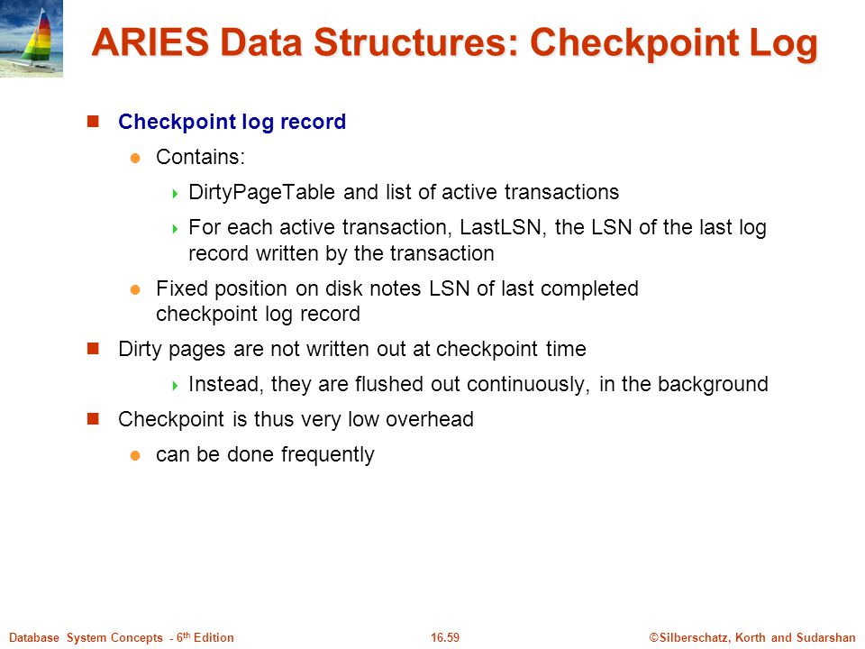 ARIES Data Structures: Checkpoint Log