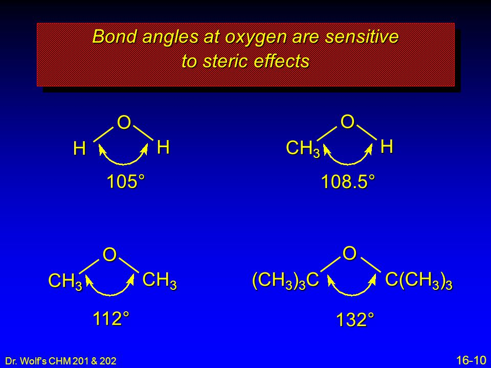 Bond angles at oxygen are sensitive to steric effects