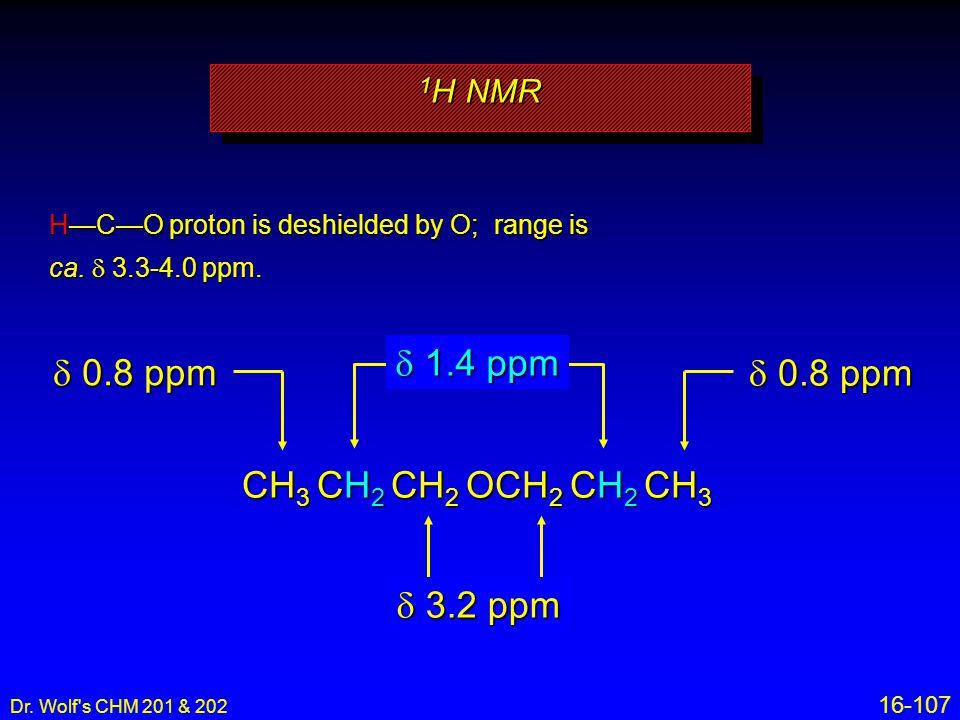 d 1.4 ppm d 0.8 ppm d 0.8 ppm CH3 CH2 CH2 OCH2 CH2 CH3 d 3.2 ppm