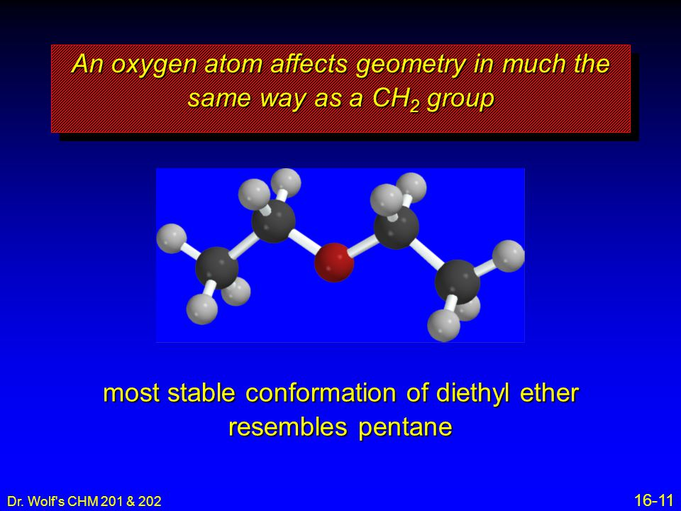 An oxygen atom affects geometry in much the same way as a CH2 group